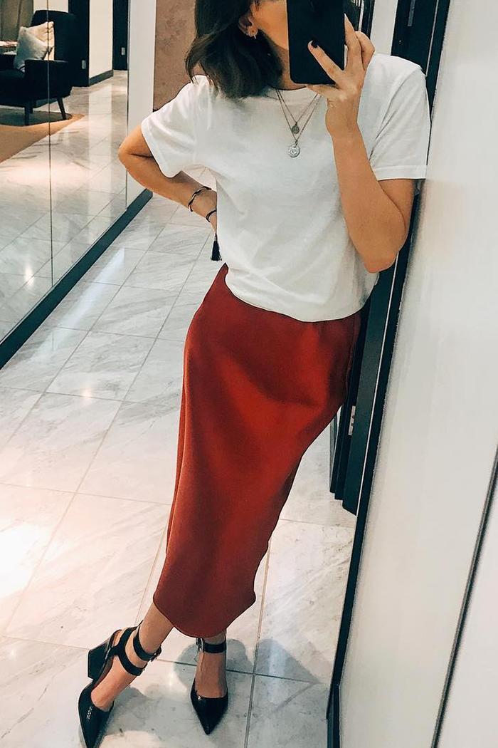 Topshop slip skirt worn by Katie Beth Payne