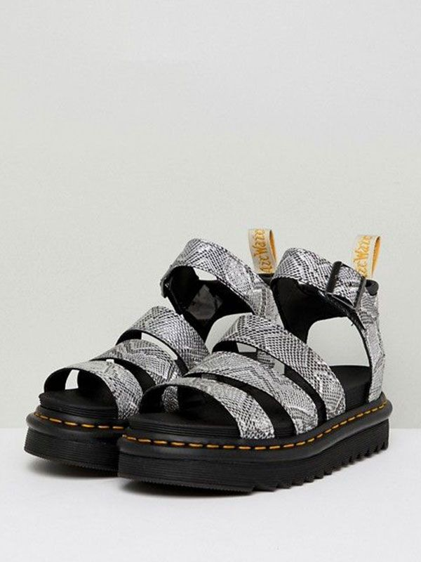 Blaire Leather Strappy Flat Sandals in Black