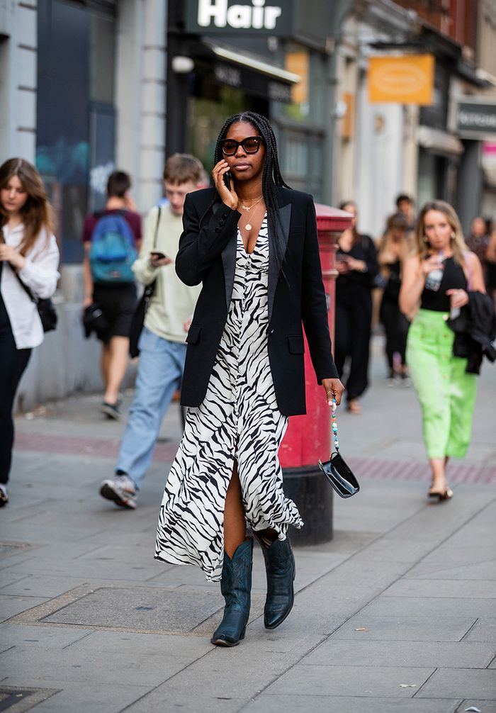 Zebra print dress with cowboy boots