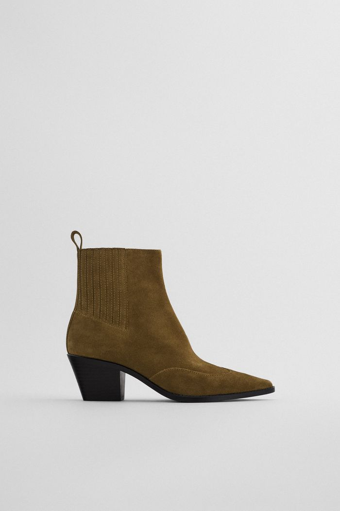 Zara Split Leather Heeled Cowboy Ankle Boots