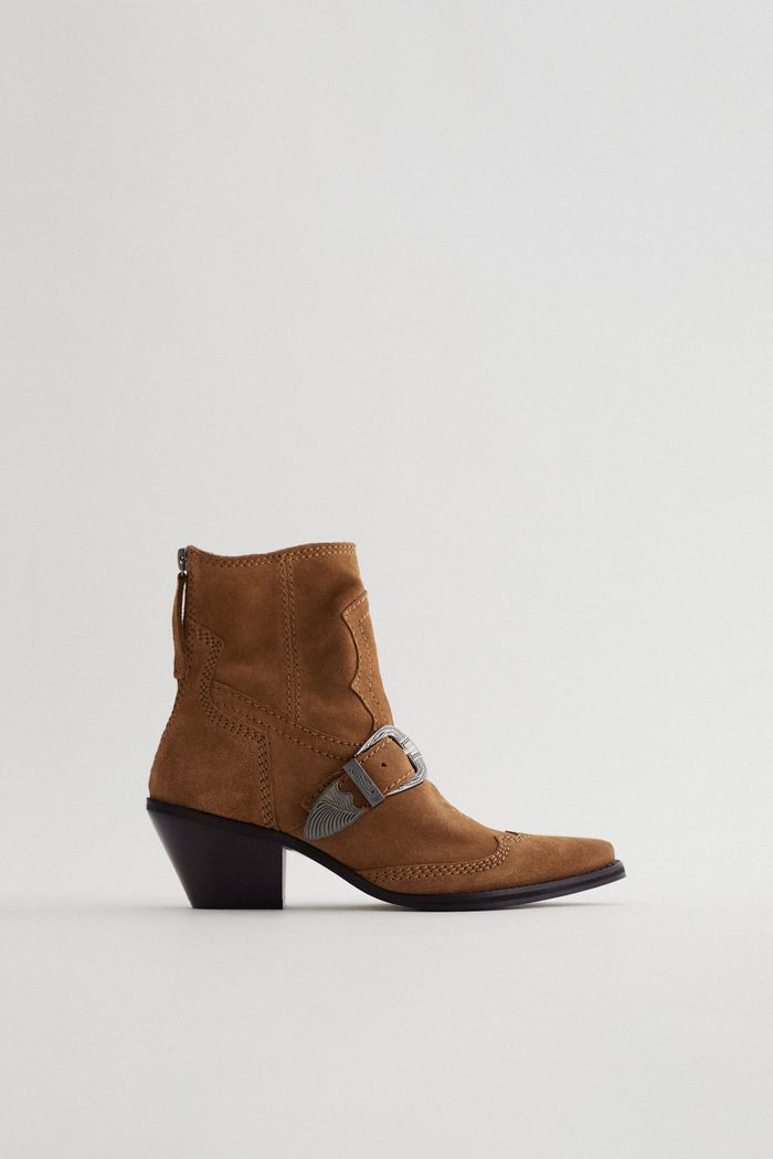Zara Heeled Split Leather Buckled Cowboy Ankle Boots
