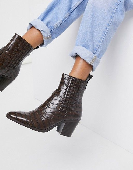Stradivarius Heeled Western Boot in Brown