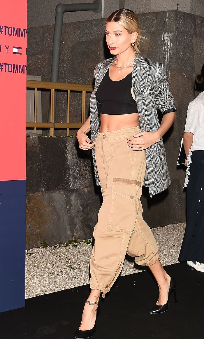 Hailey Baldwin cargo pants