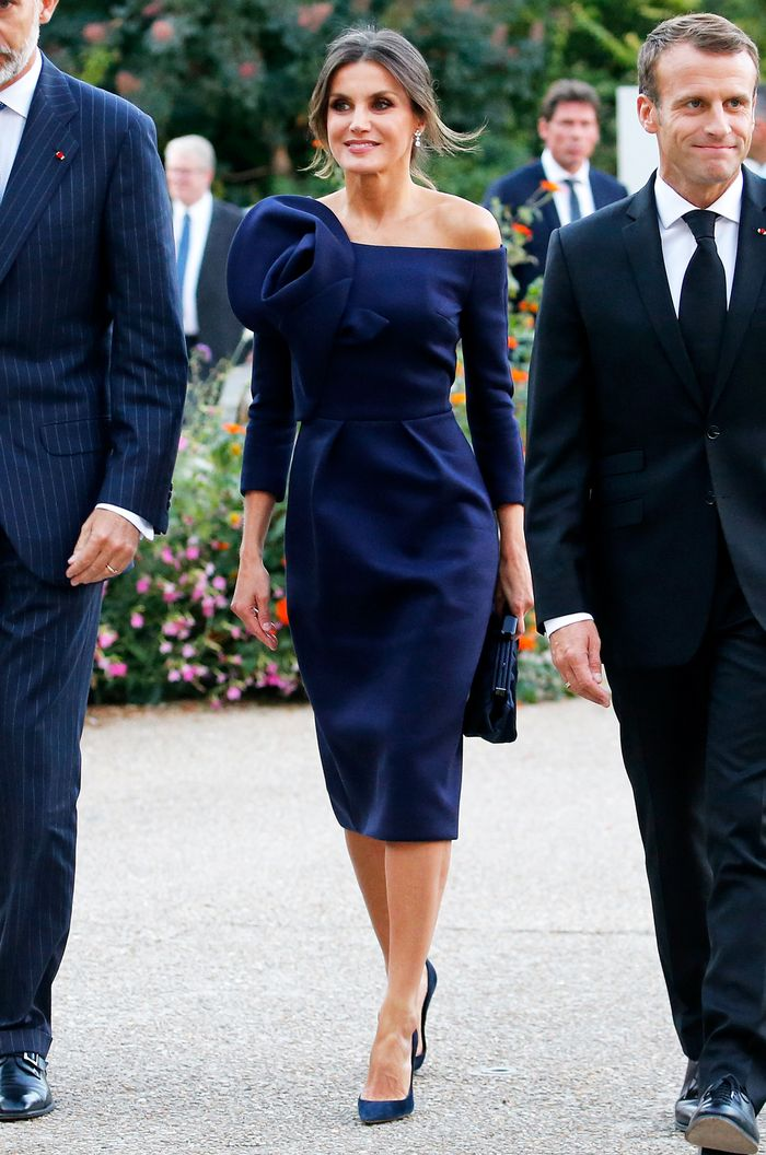 Queen Letizia: Navy Bardot Dress with Corsage