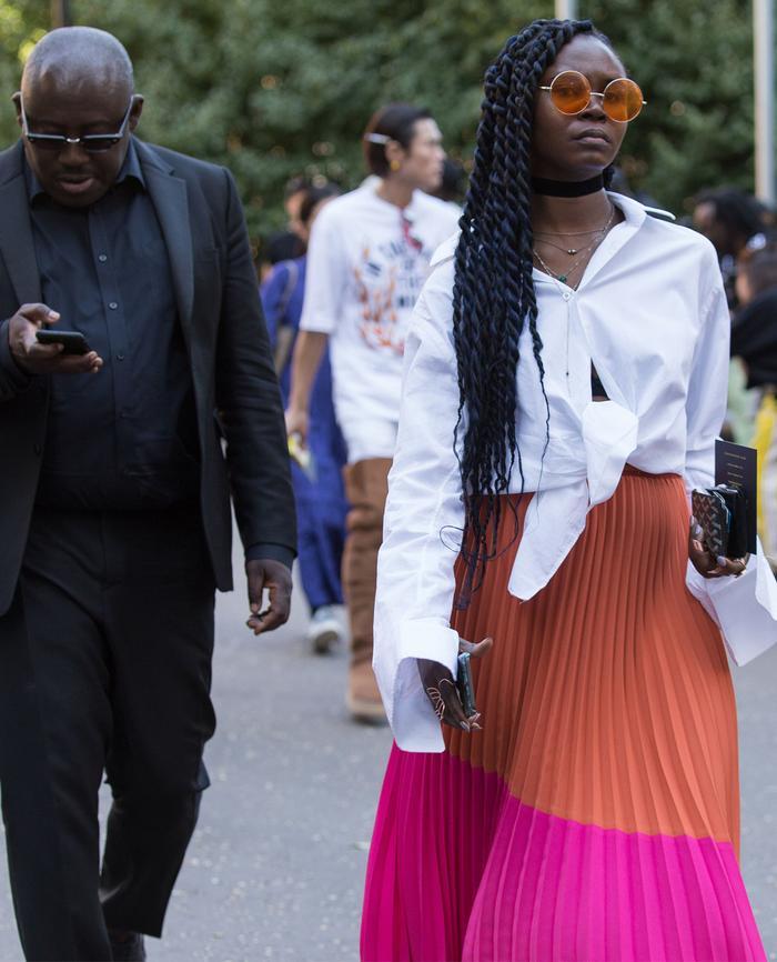 deborah ababio style: pink and orange skirt