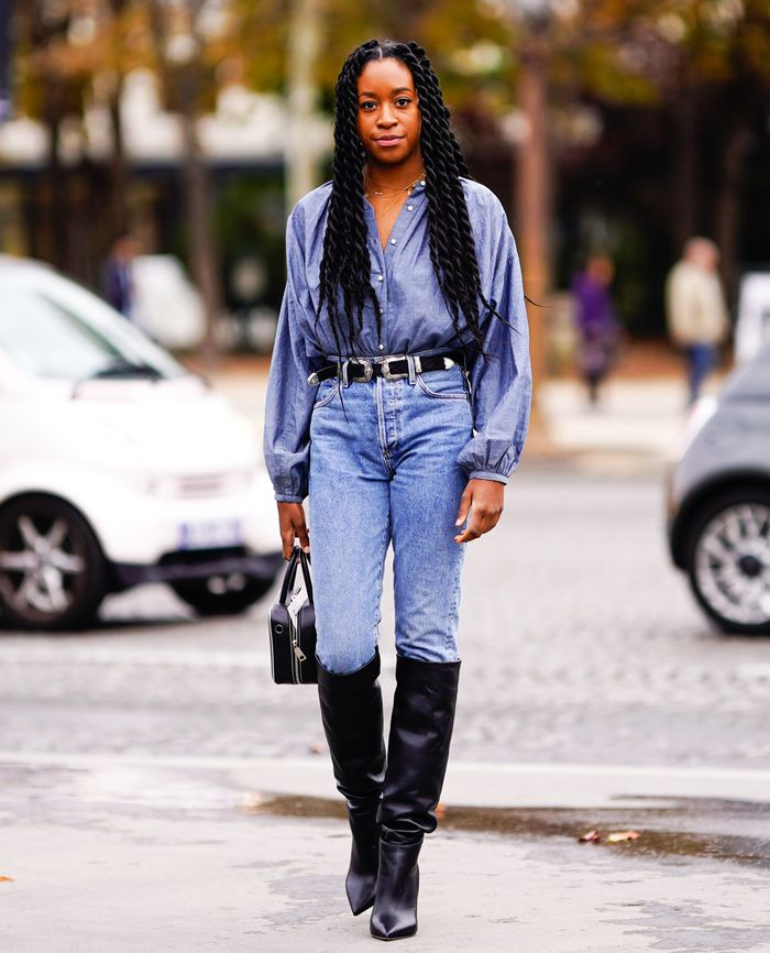 Best knee-high boots: Black boots with denim