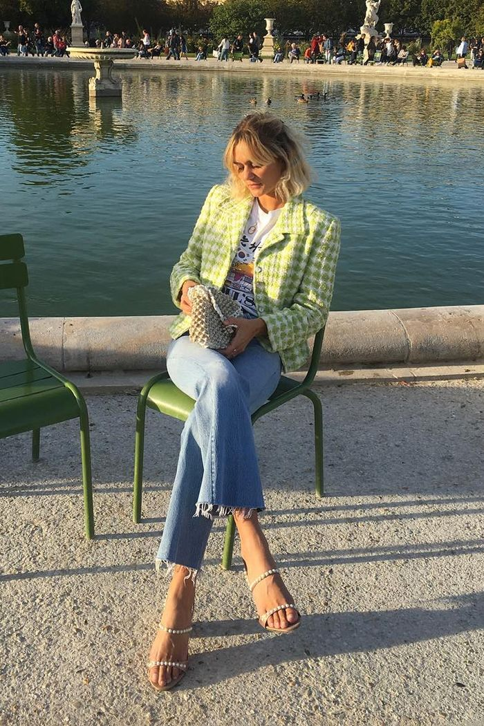 French girl shopping picks: AnneLaure Mais Moreau wearing checked blazer and jeans