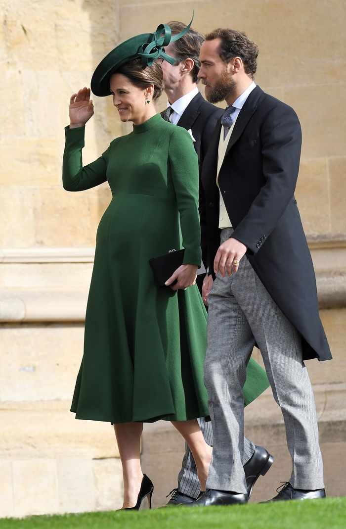 Princess Eugenie wedding guest outfits:  a pregnant Pippa Middleton wearing a green Emilia Wickstead dress