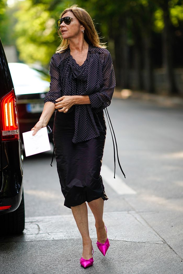 Power uniforms: Carine Roitfeld in a pencil skirt, top and heels