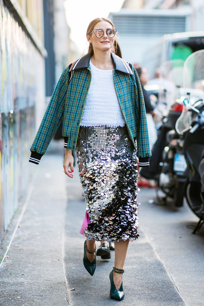 How to wear sequins in daytime: Olivia Palermo wearing checked bomber and sequin midi skirt