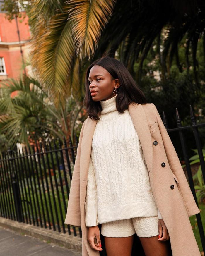 Best High Street Jumpers: Eni wears a jumper from Zara
