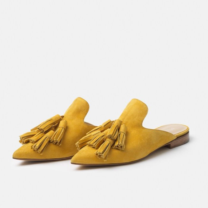 best mustard pointed toe mules