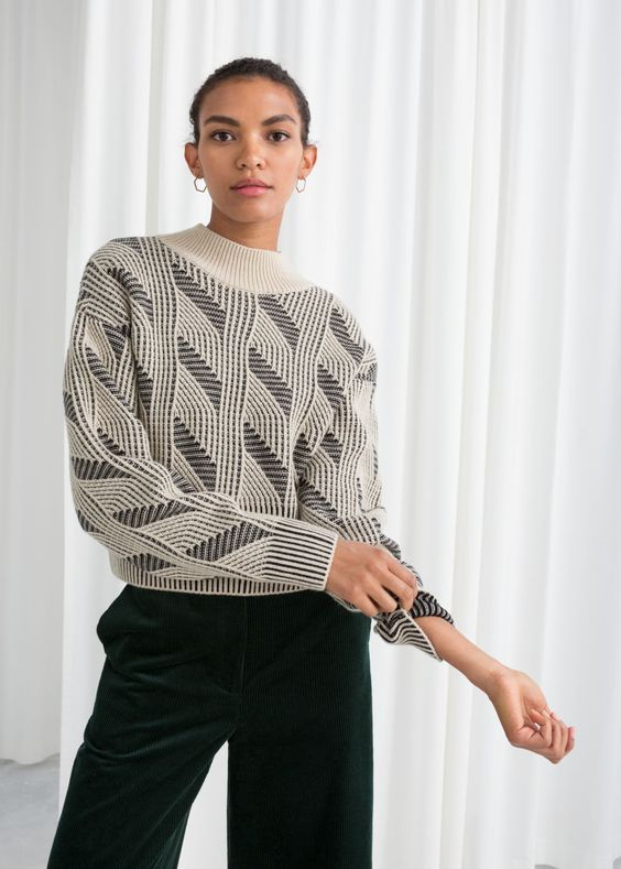 Vintage-Inspired Contrast Sweaters