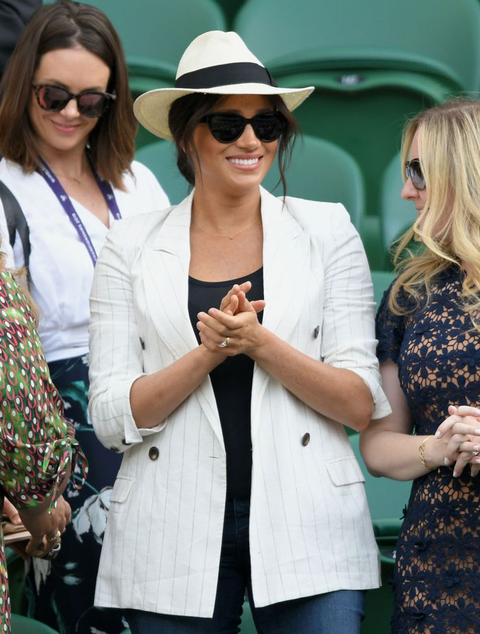 Best Initial Pendant Necklaces: Meghan Markle wears a Jennifer Meyer initial 'A' necklace as a sweet homage to son, Archie.