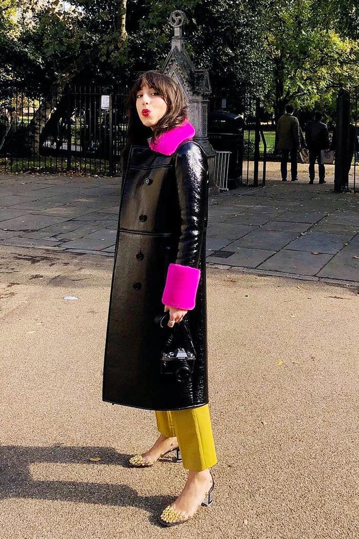 Scandi fashion brands: Sania Demina wearing Stand patent coat