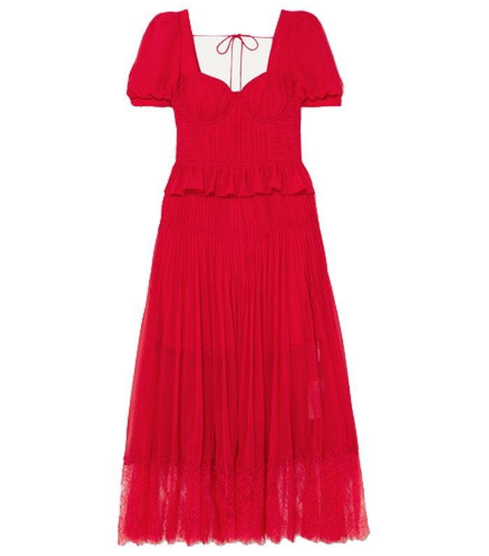 Self-Portrait Lace-Trimmed Pleated Chiffon Midi Dress