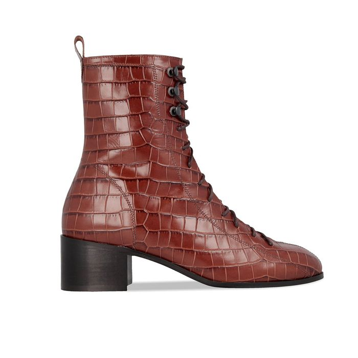 By Far Bota Toast Croco Embossed Leather