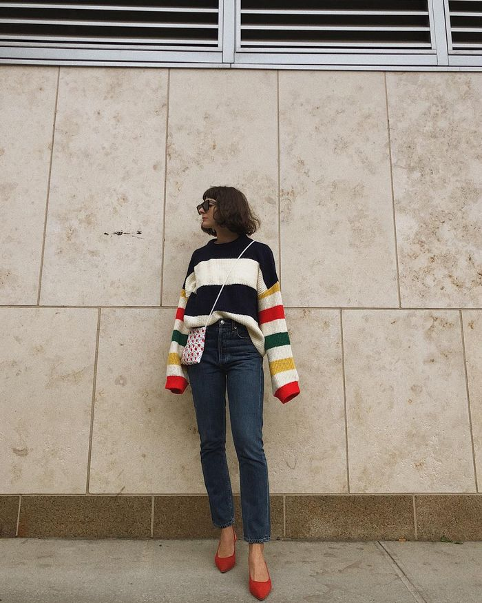 Wide stripe colorful sweaters