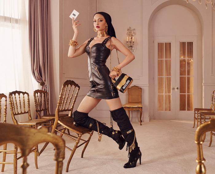 Gigi Hadid Moschino H&M boots leather dress
