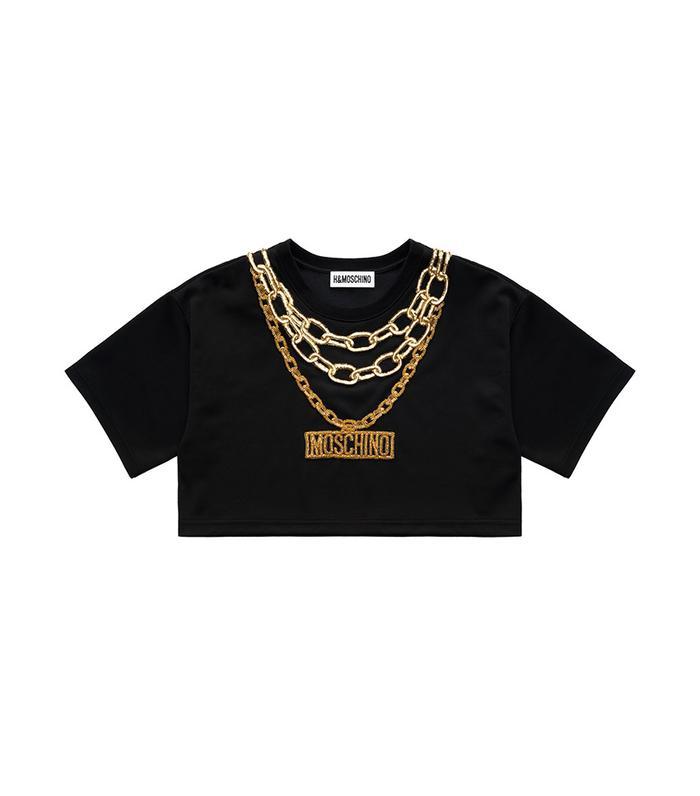 H/&M Moschino MTV HM Patent Shoulder Bag Condom Chain Black Gold New