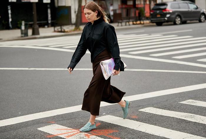 Megan Bowman in Square-Toe Flats
