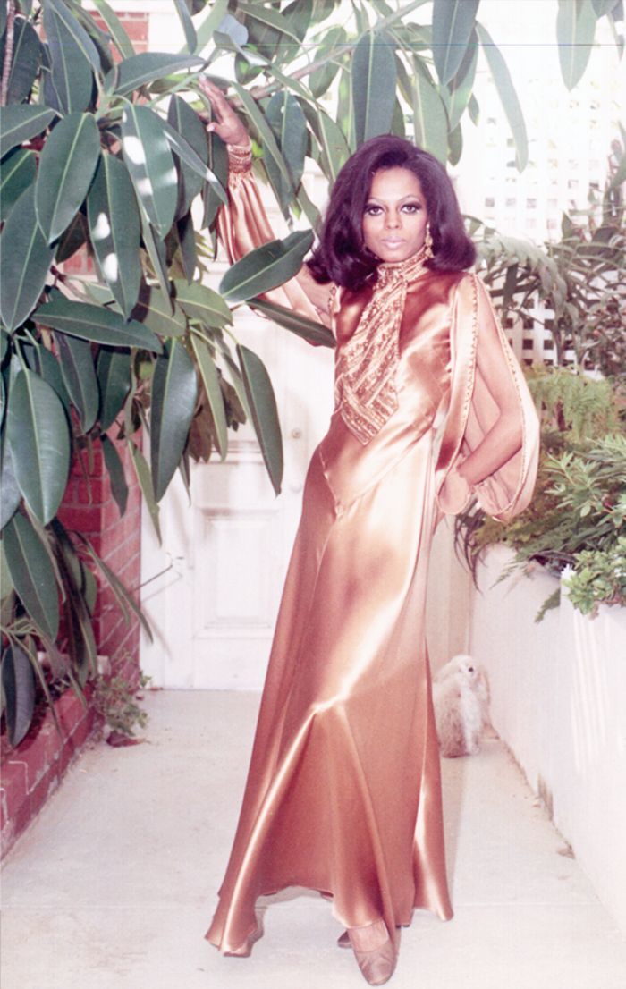 diana ross style: Diana Ross wearing a copper silk dress