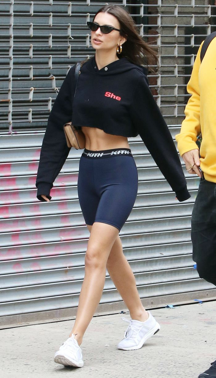Emily Ratajkowski Wearing Bike Shorts Trend