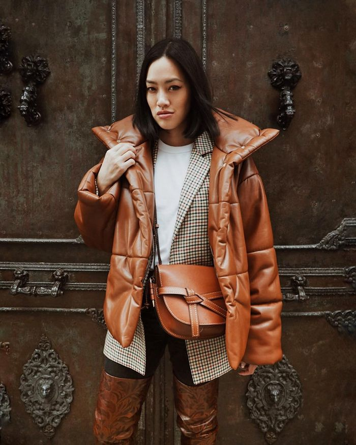 Leather puffer coats for winter