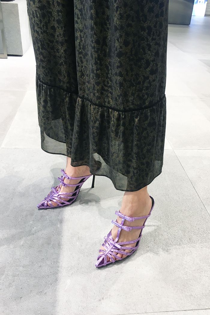 Zara party shoes: Joy Montgomery wearing Zara purple party shoes