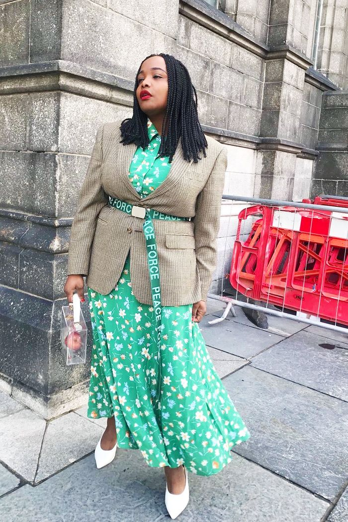 Influencer winter high street outfits: Ada Oguntodu wearing Arket dress and Weekday blazer
