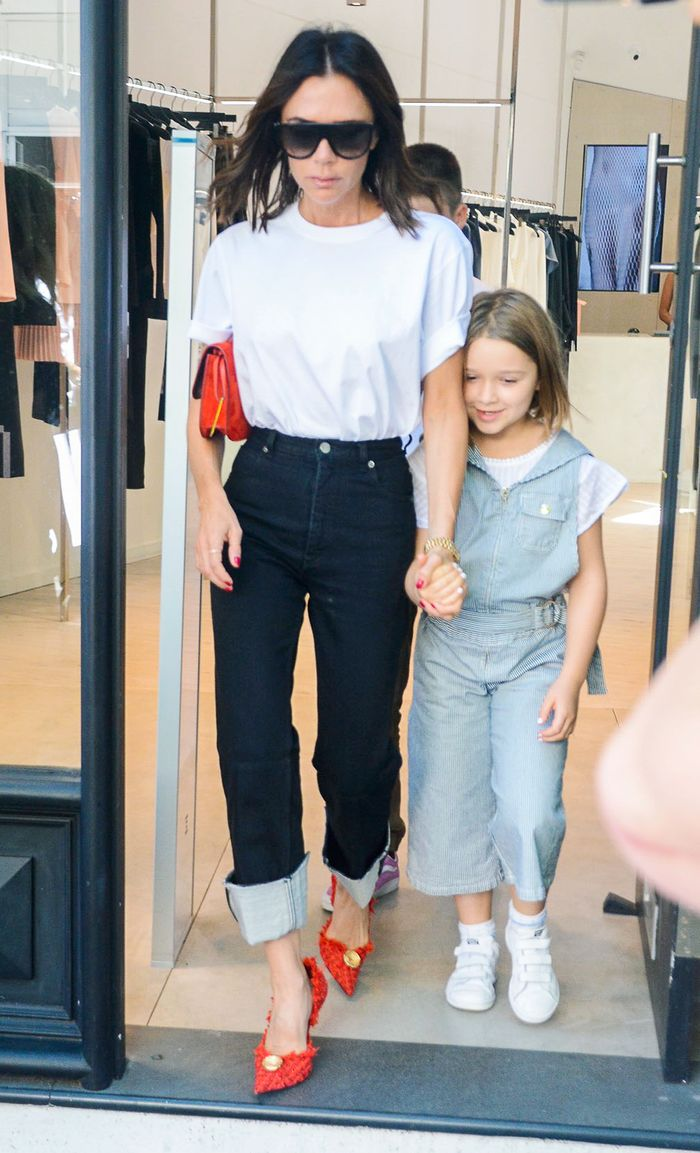 Victoria Beckham jeans and t-shirt outfit