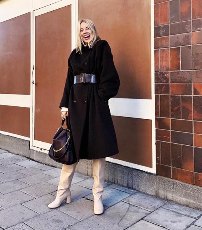 Hanna Stefansson Wears Beige Knee High & Other Stories Boots
