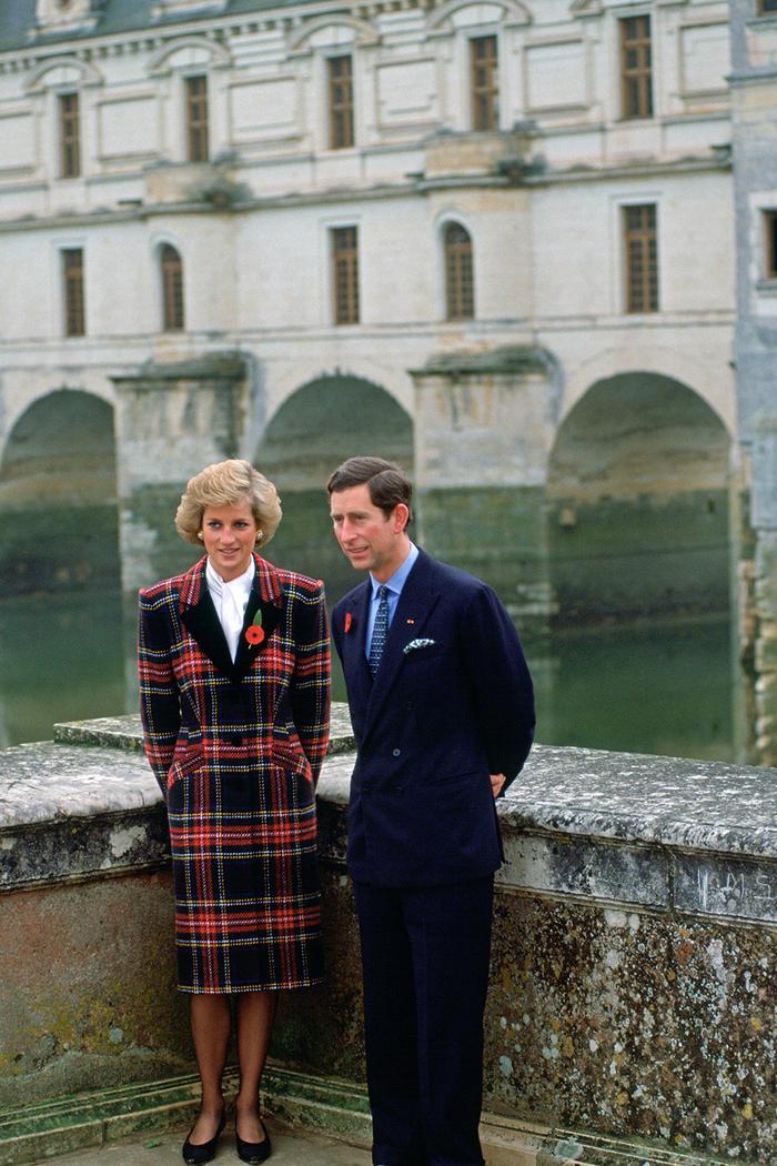 Princess Diana winter outfits: wearing a tartan coat in 1988