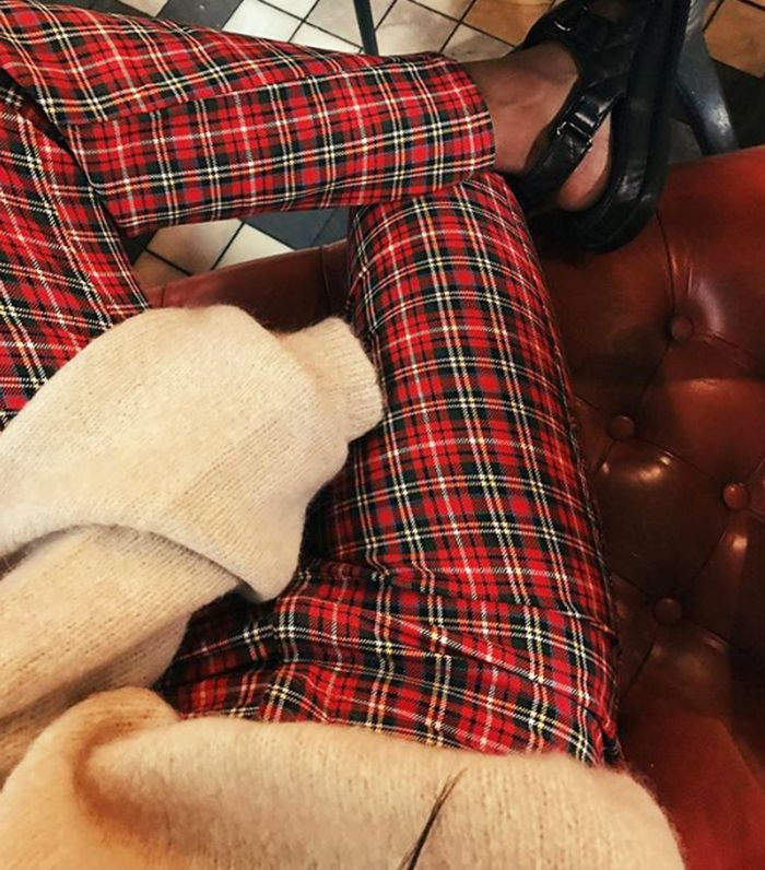 Tartan Fashion Trend: Monikh Wears Miaou Red Tartan Pants