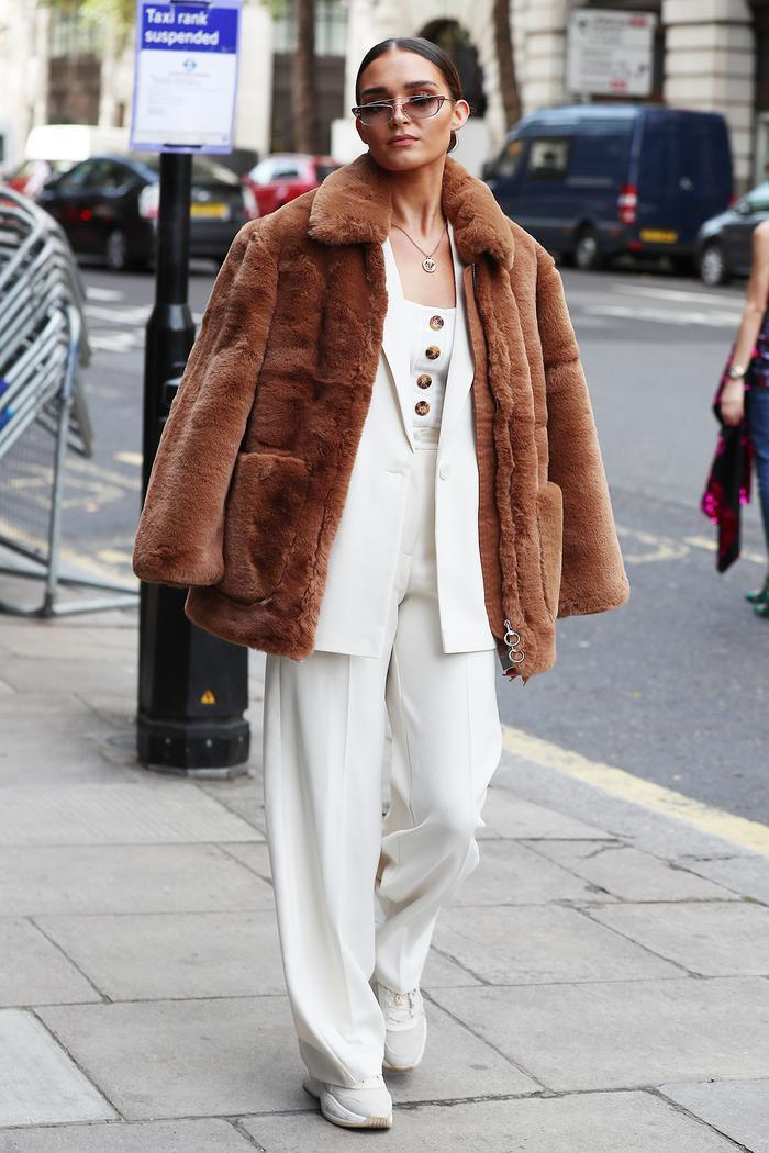 Faux-fur coat street style