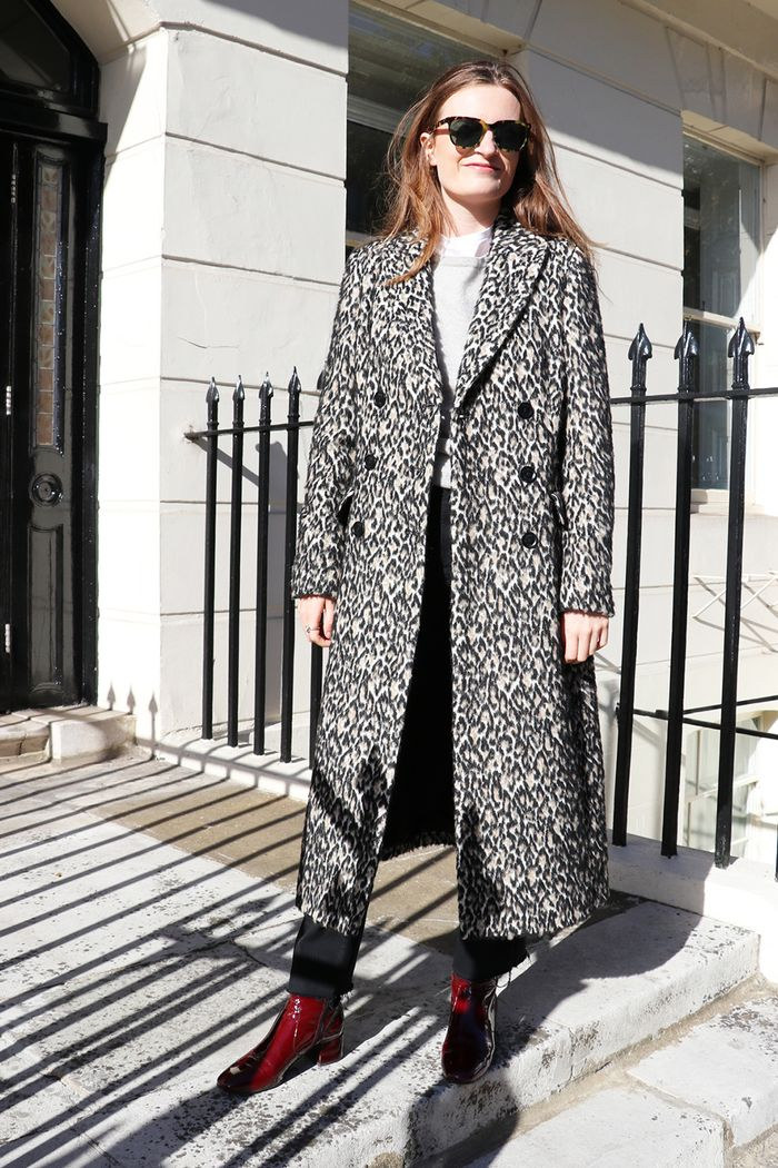 Emma Spedding wearing Karen Millen coat