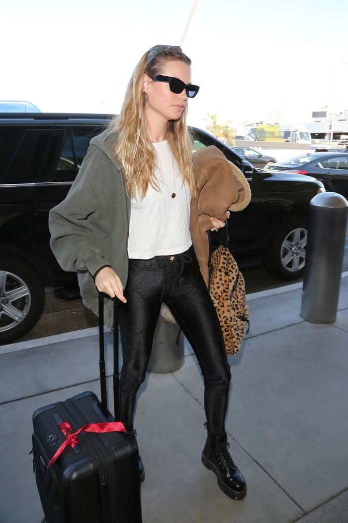 Behati Prinsloo Airport Style Wearing Boots