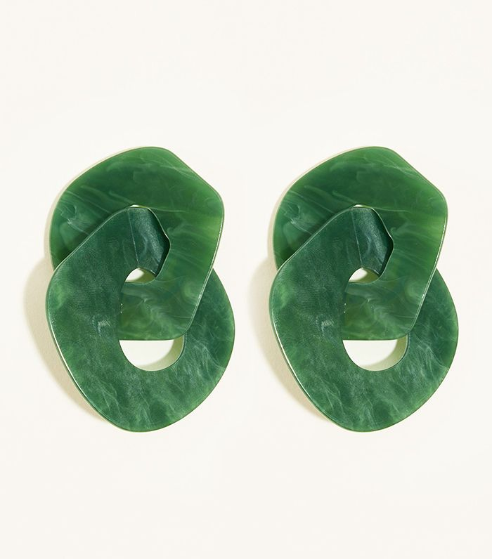 New Look Green Resin Linked Hoop Earring