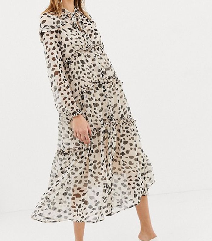 ASOS Design Button Through Soft Maxi Dress in Dalmation Dpot