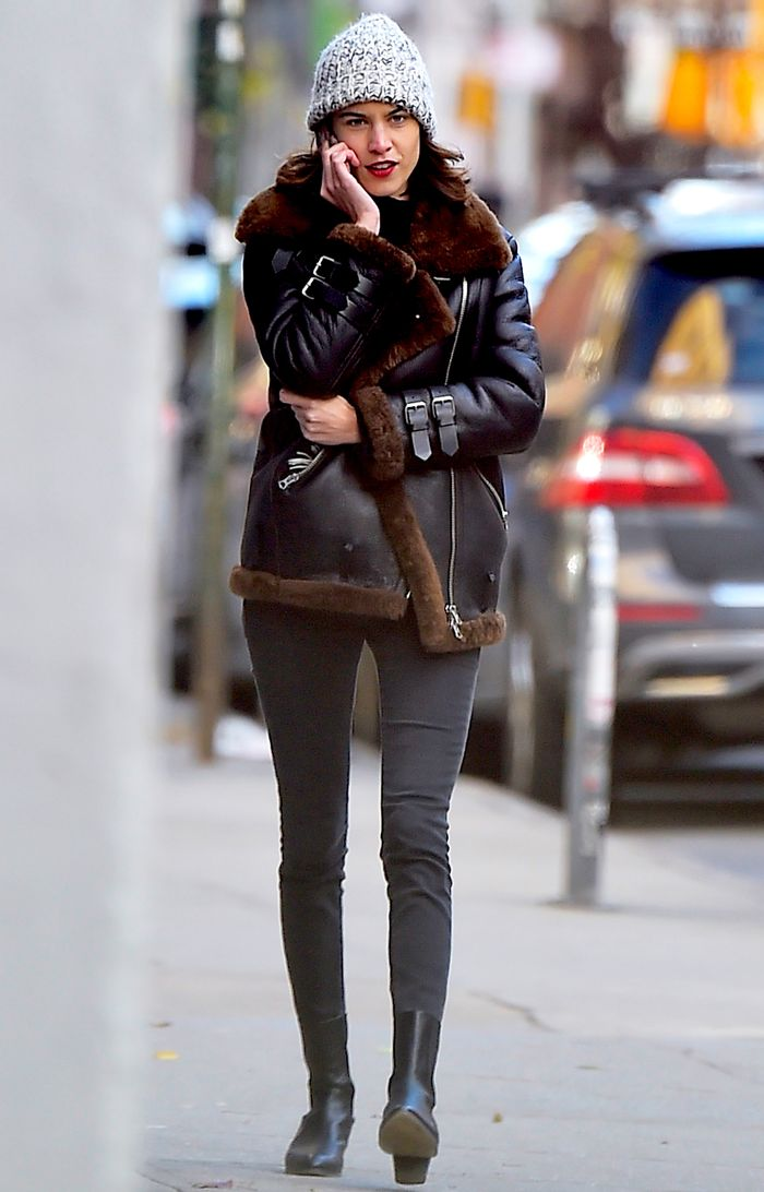 Celebrities in Skinny Jeans: Alexa combats the NYC chill in an aviator jacket and skinny jean combo.