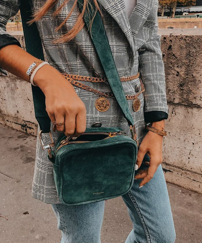 Best High Street Investment Bags: @thepartofstyle shares a close-up of her DeMillier crossbody.