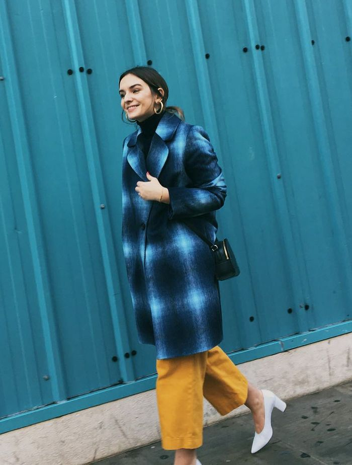London Winter Capsule Wardrobe: Upgrade your checks with a blue coat.