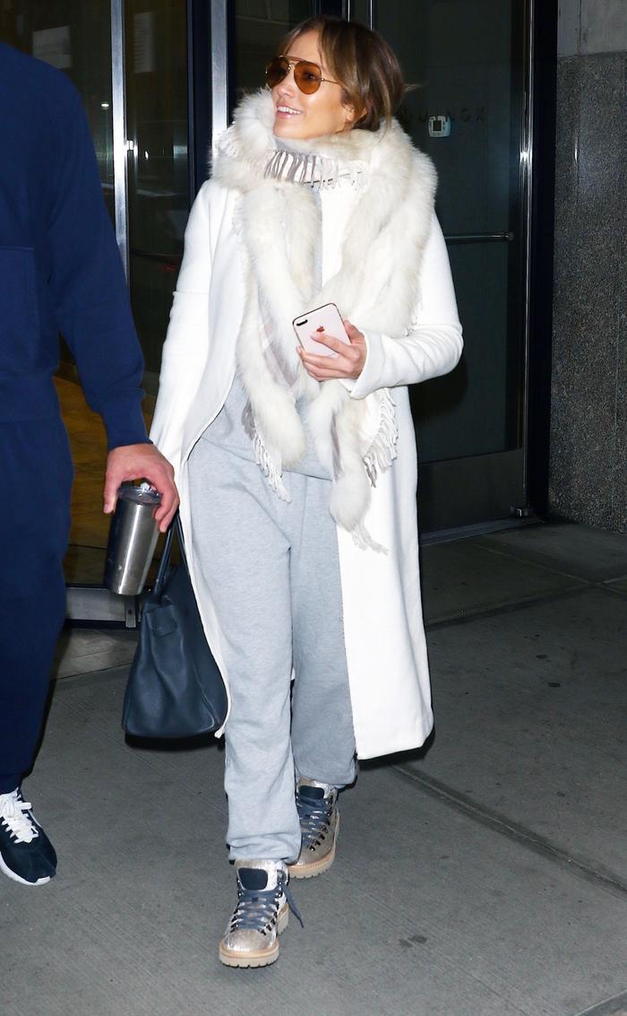 Jennifer Lopez Wearing Sweatpants and Boots