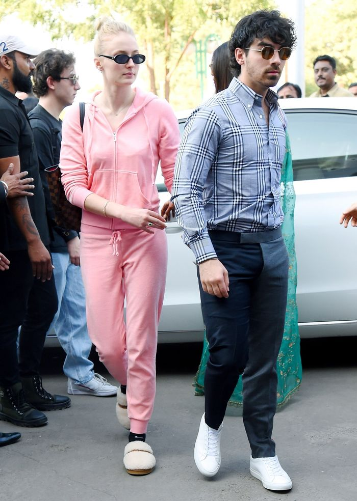 Sophie Turner Wearing Ugg Slippers