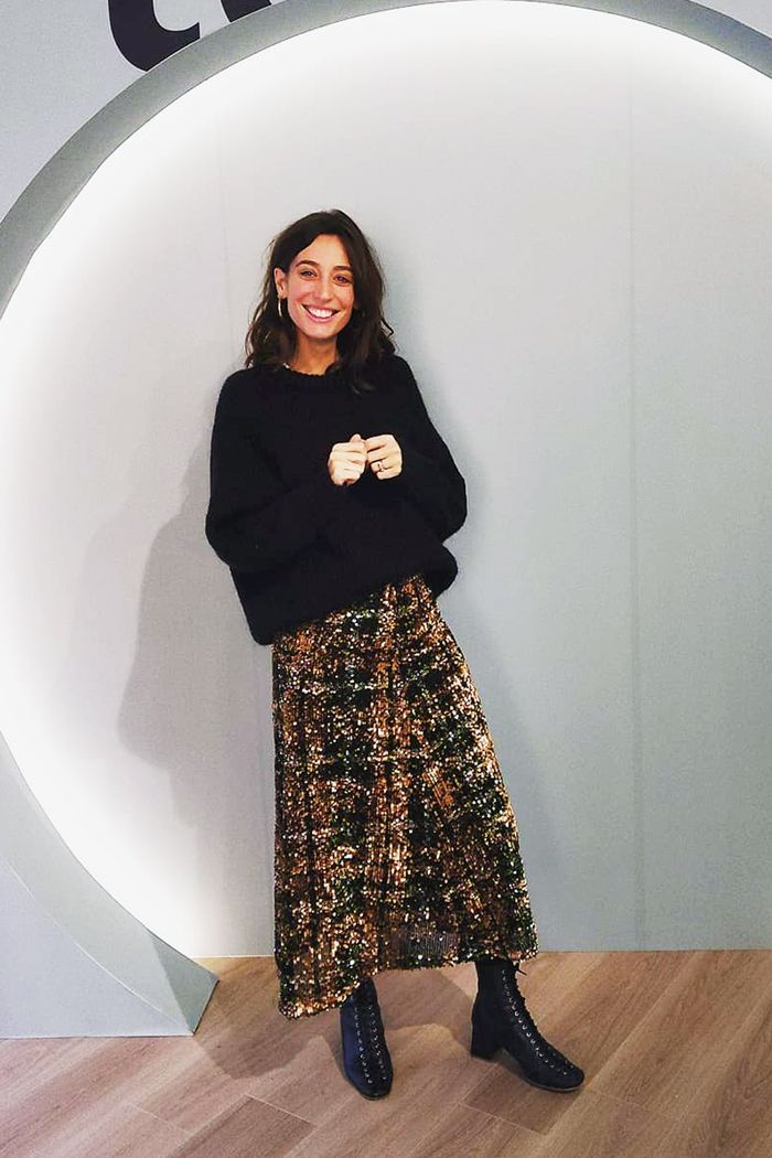 Zara sequin skirts: Laura Jackson wearing Zara sequin maxi skirt