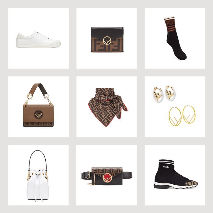 best new fendi logo accessories handbags earrings white sneakers