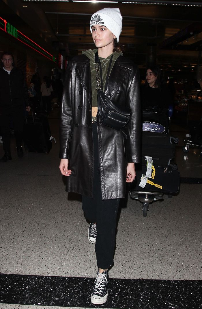 best celebrity winter airport outfits: Kaia Gerber