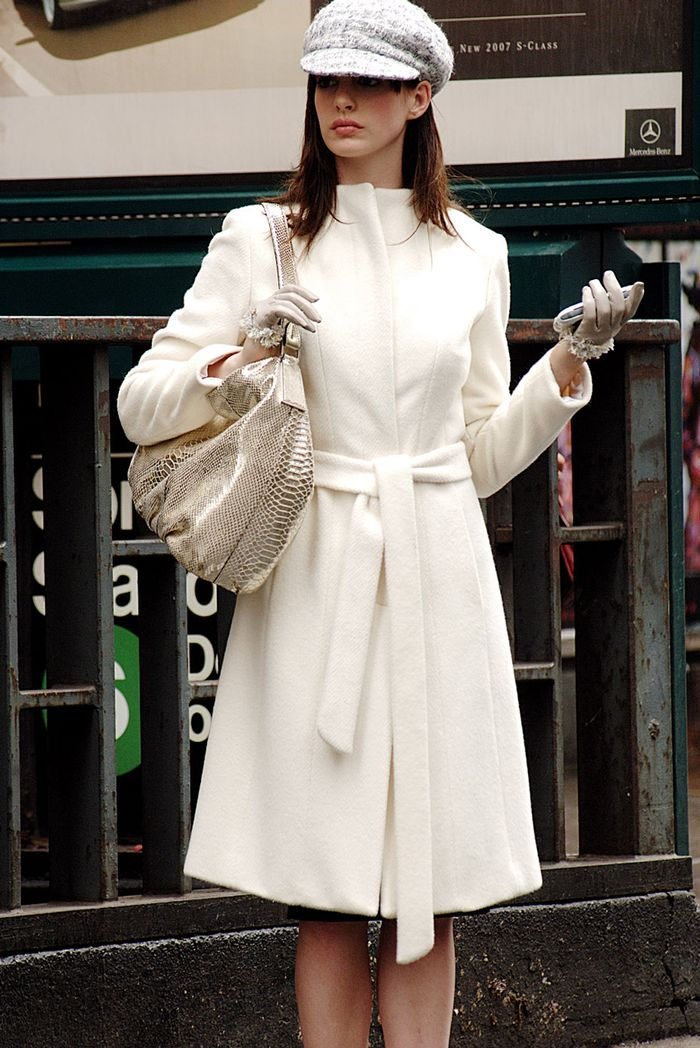 The Devil Wears Prada winter style: Andy Sachs in white coat