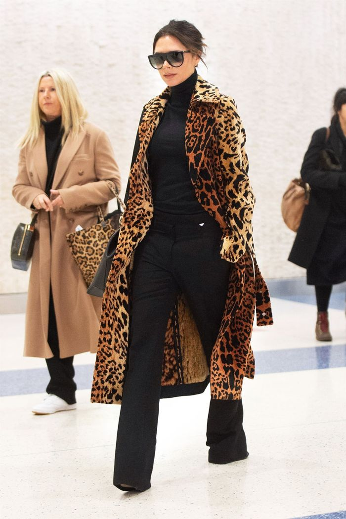Winter fashion outfits: Victoria Beckham in leopard coat