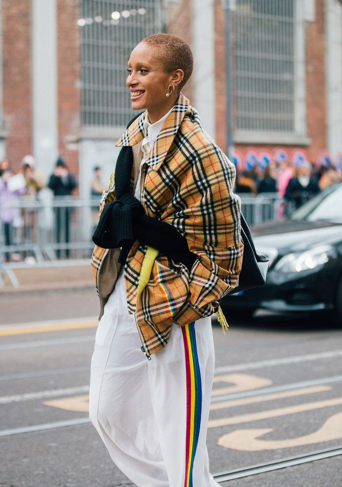 Burberry vintage check: Adwoa Aboah wearing a checked bomber jacket